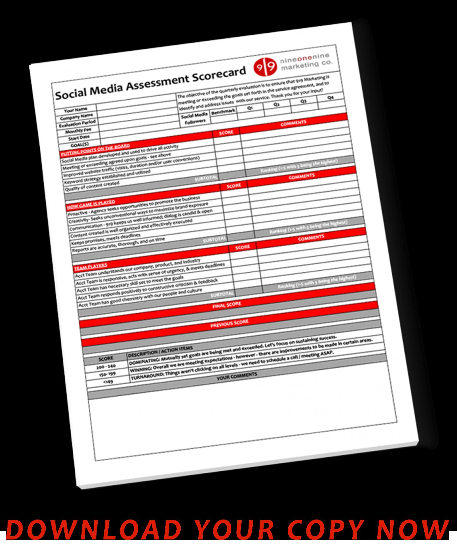 social media marketing scorecard