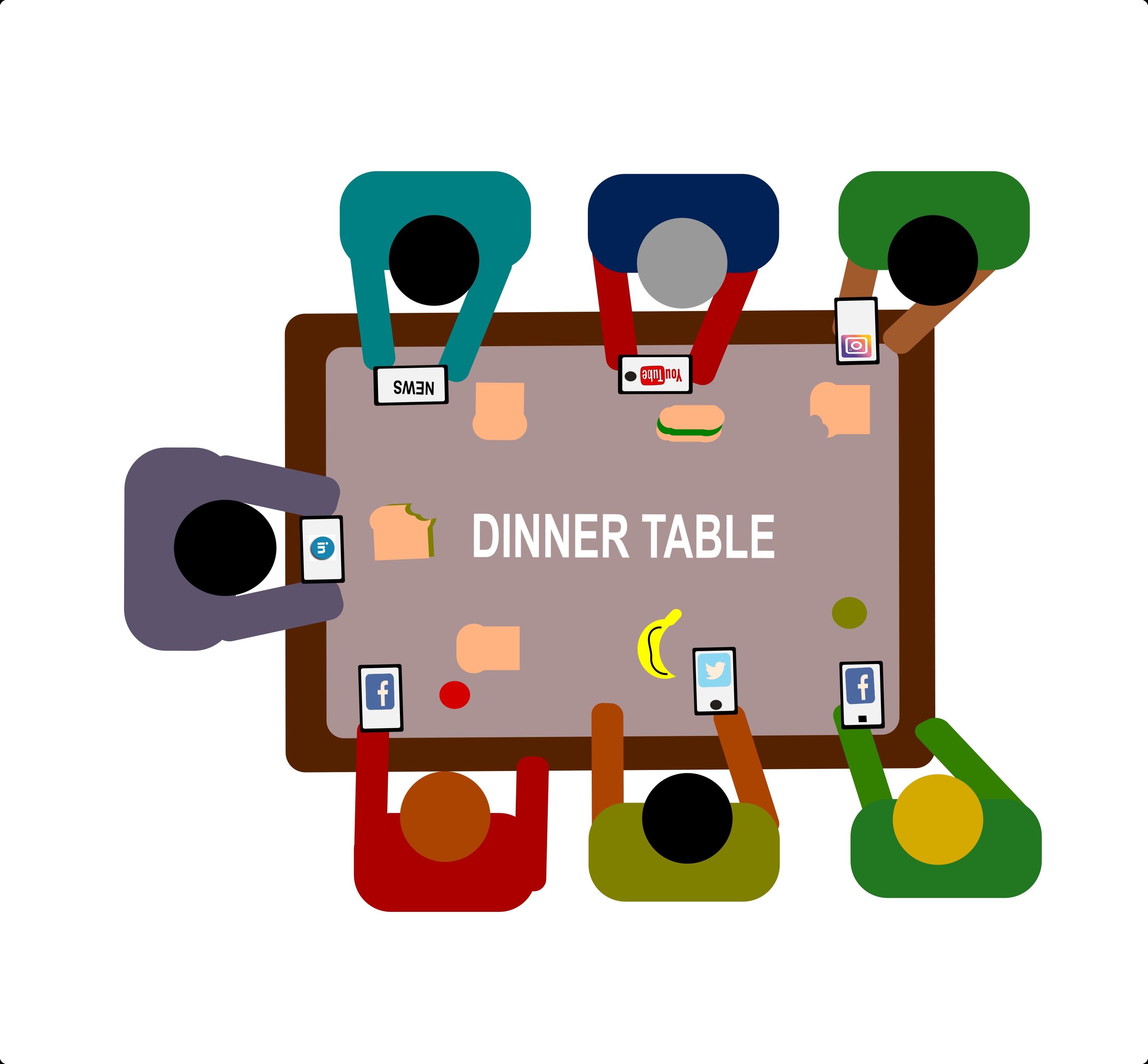 social media dinner table